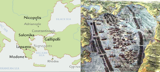 Map and View of the Battle of Lepanto, October 7, 1571