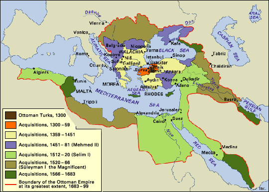 Map of Turkish Expansion, 1300-1699